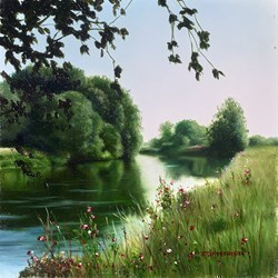 A Summers Day  by John Waterhouse - Oil sized 8x8 inches. Available from Whitewall Galleries